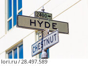 San francisco Hyde Street sign junction with Chesnut California USA (2013 год). Стоковое фото, фотограф Tono Balaguer / Ingram Publishing / Фотобанк Лори