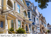 Купить «San Francisco Victorian houses in Haight Ashbury of California USA», фото № 28497621, снято 21 апреля 2013 г. (c) Ingram Publishing / Фотобанк Лори