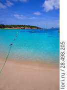 Купить «Ibiza Cala Bassa beach with turquoise Mediterranean sea at Balearic Islands», фото № 28498205, снято 7 июня 2013 г. (c) Ingram Publishing / Фотобанк Лори