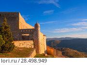 Morella in castellon Maestrazgo castle fort at Spain. Стоковое фото, фотограф Tono Balaguer / Ingram Publishing / Фотобанк Лори