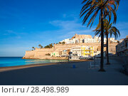 Купить «Peniscola Castle and beach in Castellon Valencian community of spain», фото № 28498989, снято 18 января 2019 г. (c) Ingram Publishing / Фотобанк Лори