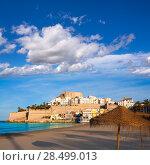 Купить «Peniscola Castle and beach in Castellon Valencian community of spain», фото № 28499013, снято 18 января 2019 г. (c) Ingram Publishing / Фотобанк Лори