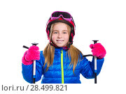 Купить «Blond kid girl happy going to snow with ski poles helmet and goggles», фото № 28499821, снято 1 февраля 2014 г. (c) Ingram Publishing / Фотобанк Лори