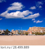 Купить «Alicante Postiguet beach and castle Santa Barbara in Spain Valencian Community», фото № 28499889, снято 21 января 2014 г. (c) Ingram Publishing / Фотобанк Лори