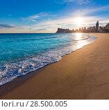 Купить «Benidorm Alicante playa de Poniente beach sunset in spain Valencian community», фото № 28500005, снято 21 января 2014 г. (c) Ingram Publishing / Фотобанк Лори