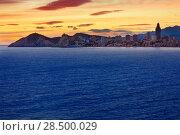 Купить «Benidorm Alicante sunset playa de Poniente beach in Spain Valencian community», фото № 28500029, снято 21 января 2014 г. (c) Ingram Publishing / Фотобанк Лори