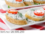 Купить «Cottage cheese sandwiches with tomato and dill», фото № 28500293, снято 24 апреля 2013 г. (c) Ingram Publishing / Фотобанк Лори