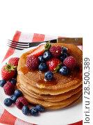 Купить «White plate full of pancakes with strawberries raspberries blueberries and honey on white», фото № 28500389, снято 16 августа 2013 г. (c) Ingram Publishing / Фотобанк Лори