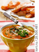 Купить «Homemade Thanksgiving Rustic Pumpkin Soup puree in ceramic Bowl», фото № 28500481, снято 30 ноября 2013 г. (c) Ingram Publishing / Фотобанк Лори