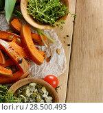 Купить «Fresh Organic Vegetables on a Wooden Background with Space For Your Text», фото № 28500493, снято 30 ноября 2013 г. (c) Ingram Publishing / Фотобанк Лори