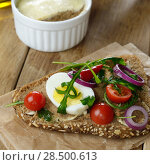Liver paste sandwich with vegetables arugula and boiled egg on the kitchen table. Стоковое фото, фотограф Olena Mykhaylova / Ingram Publishing / Фотобанк Лори