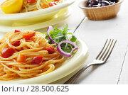 Купить «Spaghetti marinara pasta salad with arugula and olives», фото № 28500625, снято 20 января 2014 г. (c) Ingram Publishing / Фотобанк Лори
