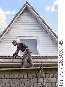 Купить «The worker repairs the roof of the cottage», фото № 28503145, снято 24 июля 2016 г. (c) Евгений Ткачёв / Фотобанк Лори