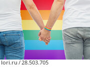 Купить «male couple with gay pride rainbow wristbands», фото № 28503705, снято 2 ноября 2017 г. (c) Syda Productions / Фотобанк Лори