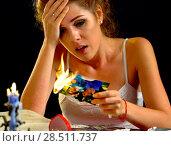 Купить «Wedding memories. Broken heart woman. Family break up.», фото № 28511737, снято 21 июля 2018 г. (c) Gennadiy Poznyakov / Фотобанк Лори