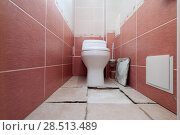 Купить «Destruction of a ceramic covering of a floor at violation of technology of repair in a toilet», фото № 28513489, снято 1 июня 2018 г. (c) Anatoly Timofeev / Фотобанк Лори