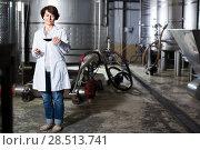 Купить «worker costs with wineglass», фото № 28513741, снято 12 октября 2016 г. (c) Яков Филимонов / Фотобанк Лори