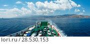 Купить «Messina strait from ferry, Sicily, Italy», фото № 28530153, снято 18 июня 2017 г. (c) Юрий Брыкайло / Фотобанк Лори