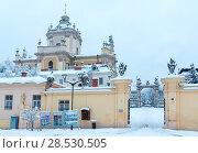 Купить «Early morning winter St. George Cathedral in Lviv, Ukraine», фото № 28530505, снято 4 декабря 2017 г. (c) Юрий Брыкайло / Фотобанк Лори
