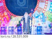 """Купить «Дед Мороз на сцене. Спектакль """"Смешарики. Новогодние приключения"""" в Гостином дворе. Москва», эксклюзивное фото № 28531009, снято 3 января 2014 г. (c) Алёшина Оксана / Фотобанк Лори"""