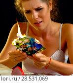 Купить «Wedding memories. Broken heart woman. Family break up.», фото № 28531069, снято 21 июля 2018 г. (c) Gennadiy Poznyakov / Фотобанк Лори