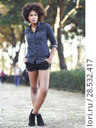 Купить «Young black woman with afro hairstyle standing in urban background. Mixed woman wearing blue shirt and shorts.», фото № 28532417, снято 10 декабря 2016 г. (c) Ingram Publishing / Фотобанк Лори
