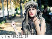 Купить «Portrait of beautiful girl with the winter hat on», фото № 28532489, снято 4 декабря 2011 г. (c) Ingram Publishing / Фотобанк Лори