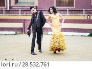 Купить «Portrait of a pretty couple, models of fashion, in a bullring. Spanish style», фото № 28532761, снято 15 декабря 2013 г. (c) Ingram Publishing / Фотобанк Лори