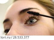 Купить «Makeup. Make-up. Applying Mascara. Long Eyelashes and blue eyes», фото № 28533377, снято 26 апреля 2016 г. (c) Ingram Publishing / Фотобанк Лори