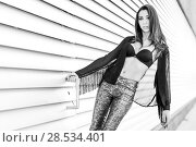 Купить «Portrait of young beautiful woman, model of fashion, wearing transparent shirt and black bra», фото № 28534401, снято 16 марта 2014 г. (c) Ingram Publishing / Фотобанк Лори