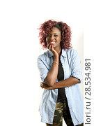 Купить «Portrait of beautiful black woman on white background. Red hairstyle Studio shot», фото № 28534981, снято 16 марта 2013 г. (c) Ingram Publishing / Фотобанк Лори