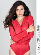 Купить «Young woman wearing red body and earrings on white background. Brunette girl with long hair and wavy hairstyle looking to camera. Studio shot.», фото № 28535849, снято 30 мая 2017 г. (c) Ingram Publishing / Фотобанк Лори