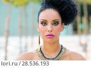 Купить «Portrait of a young black woman, model of fashion, with fantasy make-up», фото № 28536193, снято 16 сентября 2012 г. (c) Ingram Publishing / Фотобанк Лори