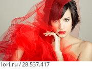 Купить «Portrait of a beautiful girl with a red tulle. Studio photograph», фото № 28537417, снято 10 сентября 2013 г. (c) Ingram Publishing / Фотобанк Лори