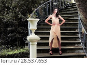 Купить «Portrait of a beautiful young woman, model of fashion, in a garden stairs», фото № 28537653, снято 20 мая 2012 г. (c) Ingram Publishing / Фотобанк Лори