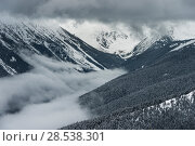 Купить «Scenic view of snow covered mountain range, Whistler, British Columbia, Canada», фото № 28538301, снято 27 марта 2016 г. (c) Ingram Publishing / Фотобанк Лори