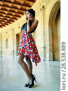 Fashion model with designer dress at the Charles V Palace in Alhambra, Granada, Spain. Стоковое фото, фотограф Javier Sánchez Mingorance / Ingram Publishing / Фотобанк Лори