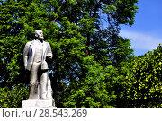 Купить «Город Гдов. Серебристый памятник В.И.Ленину», фото № 28543269, снято 3 июня 2018 г. (c) Владимир Кошарев / Фотобанк Лори