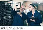 Купить «man and woman winemakers in wine cellar», фото № 28544589, снято 20 августа 2018 г. (c) Яков Филимонов / Фотобанк Лори