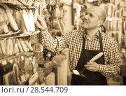Купить «seller smiling at gardening section», фото № 28544709, снято 19 ноября 2018 г. (c) Яков Филимонов / Фотобанк Лори