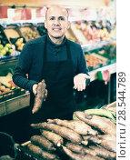 Купить «Seller posing near display of manihot roots», фото № 28544789, снято 18 октября 2019 г. (c) Яков Филимонов / Фотобанк Лори