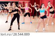 Купить «Active females dancing excited posing», фото № 28544889, снято 31 мая 2017 г. (c) Яков Филимонов / Фотобанк Лори