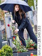 Купить «Young woman with red rose on a cemetery, Austria», фото № 28549533, снято 13 ноября 2018 г. (c) age Fotostock / Фотобанк Лори