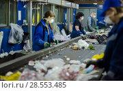 Сортировка мусора на мусороперерабатывающем заводе. Стоковое фото, фотограф Яковлев Сергей / Фотобанк Лори
