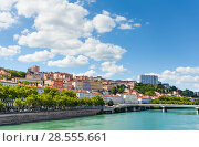 Купить «Beautiful view of the Rhone river embankment, Lyon», фото № 28555661, снято 14 июля 2017 г. (c) Сергей Новиков / Фотобанк Лори