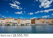 Купить «Embankment of the Saone river, Lyon, France», фото № 28555701, снято 14 июля 2017 г. (c) Сергей Новиков / Фотобанк Лори