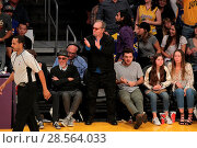 Купить «Celebrities at the Lakers game. The Los Angeles Lakers defeated the Golden State Warriors by the final score of 117-97 at Staples Center in downtown Los...», фото № 28564033, снято 4 ноября 2016 г. (c) age Fotostock / Фотобанк Лори