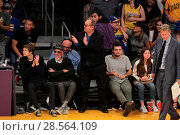 Купить «Celebrities at the Lakers game. The Los Angeles Lakers defeated the Golden State Warriors by the final score of 117-97 at Staples Center in downtown Los...», фото № 28564109, снято 4 ноября 2016 г. (c) age Fotostock / Фотобанк Лори