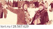 Купить «happy girls plays during Shrovetide», фото № 28567629, снято 6 марта 2011 г. (c) Яков Филимонов / Фотобанк Лори