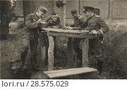 Купить «Германские солдаты и офицеры обедают за деревянным столом на улице», фото № 28575029, снято 20 февраля 2019 г. (c) WWII / Фотобанк Лори